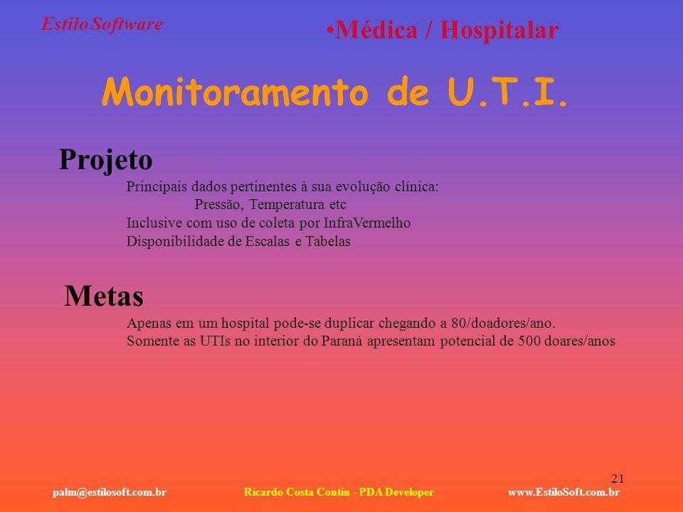 21 Estilo Software www.EstiloSoft.com.brRicardo Costa Contin - PDA Developerpalm@estilosoft.com.br Médica / Hospitalar Monitoramento de U.T.I. Projeto