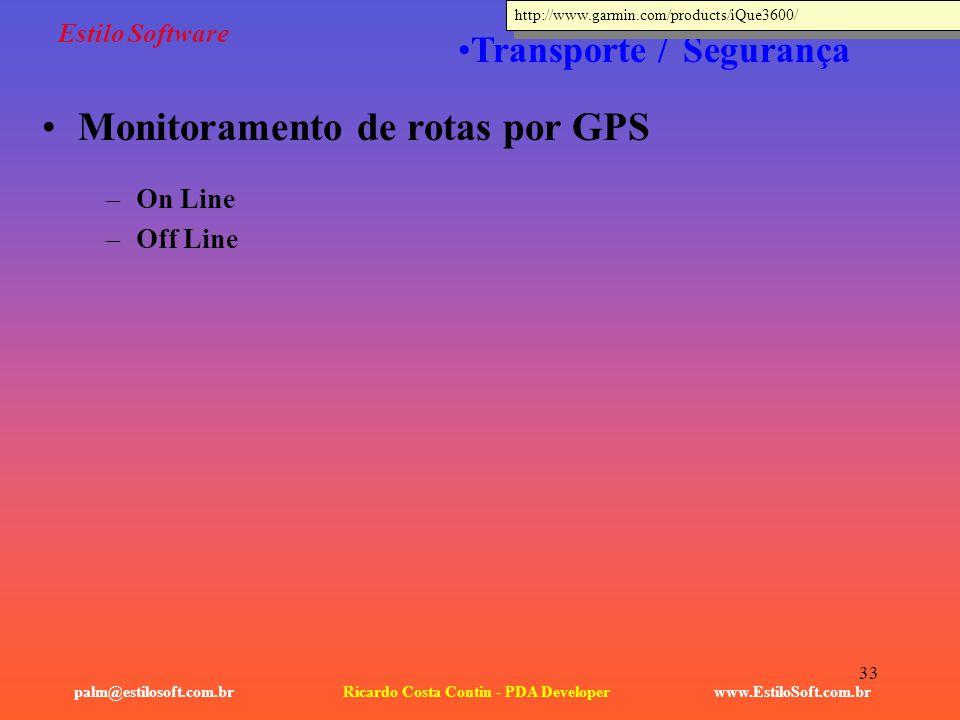 33 Estilo Software –On Line –Off Line www.EstiloSoft.com.brRicardo Costa Contin - PDA Developerpalm@estilosoft.com.br Transporte / Segurança Monitoram