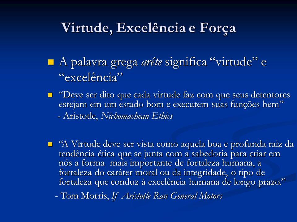 Virtude, Excelência e Força A palavra grega arête significa virtude e excelência A palavra grega arête significa virtude e excelência Deve ser dito qu