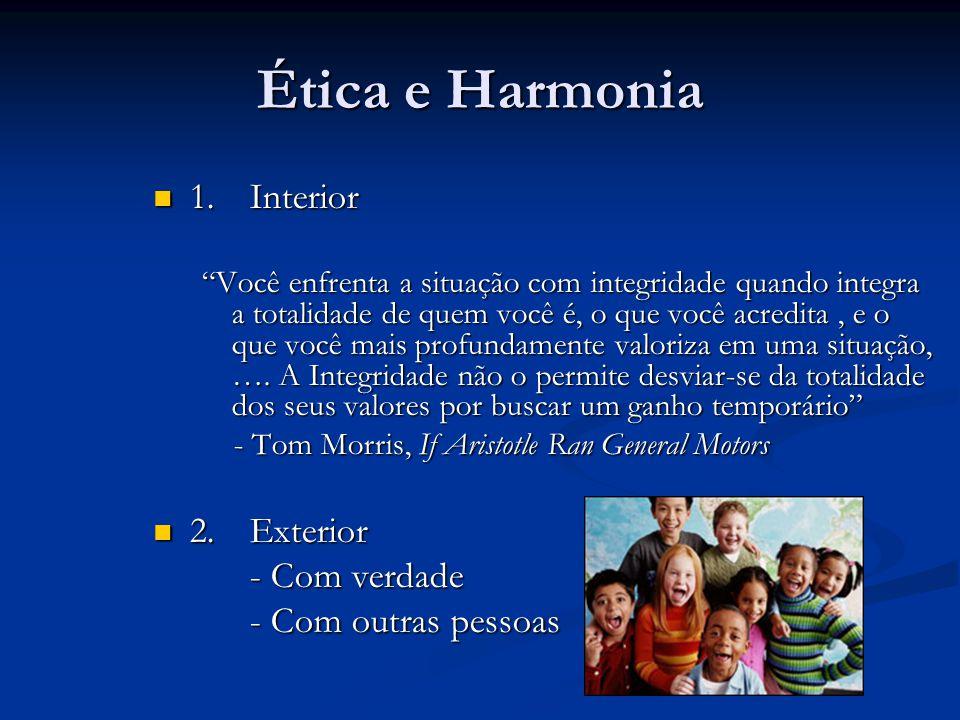 Ética e Harmonia 1.Interior 1.Interior Você enfrenta a situação com integridade quando integra a totalidade de quem você é, o que você acredita, e o q
