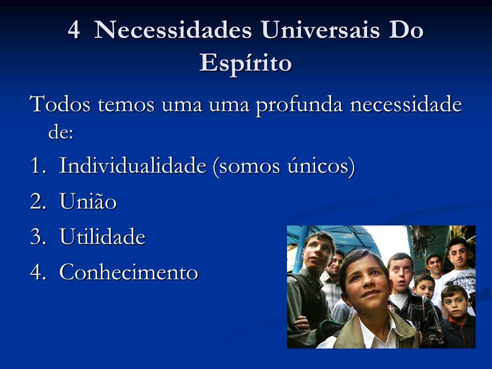 4 Necessidades Universais Do Espírito Todos temos uma uma profunda necessidade de: 1. Individualidade (somos únicos) 2. União 3. Utilidade 4. Conhecim
