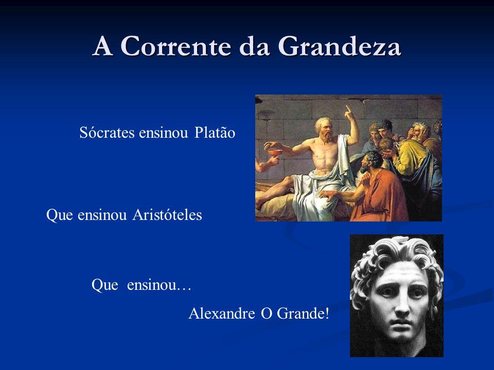 A Corrente da Grandeza Sócrates ensinou Platão Que ensinou Aristóteles Que ensinou… Alexandre O Grande!