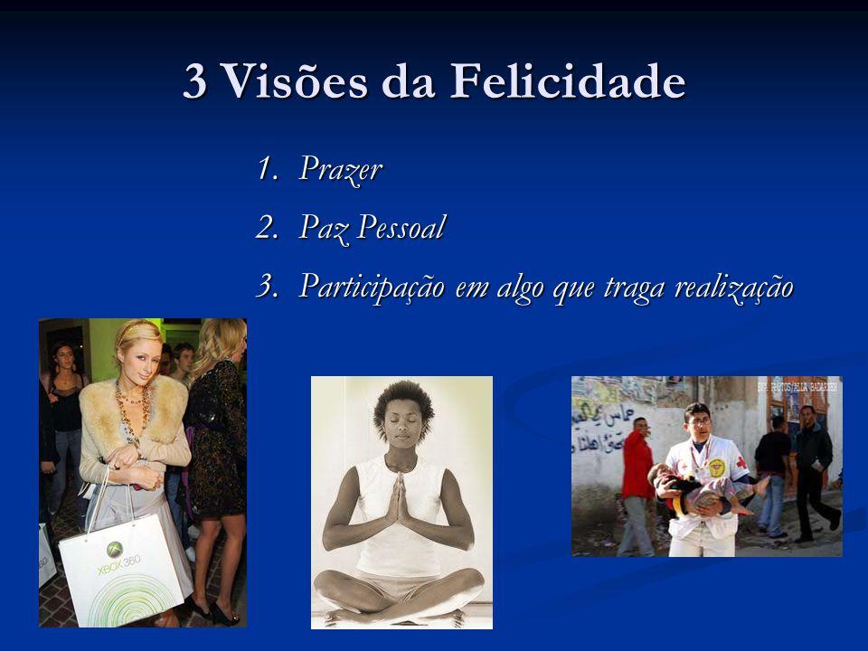 3 Visões da Felicidade 1. Prazer 2. Paz Pessoal 3. Participação em algo que traga realização