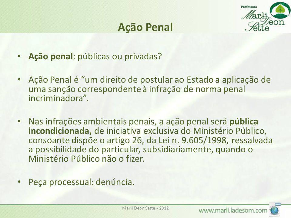 Marli Deon Sette - 201210 Ação Penal Ação penal: públicas ou privadas? Ação Penal é um direito de postular ao Estado a aplicação de uma sanção corresp