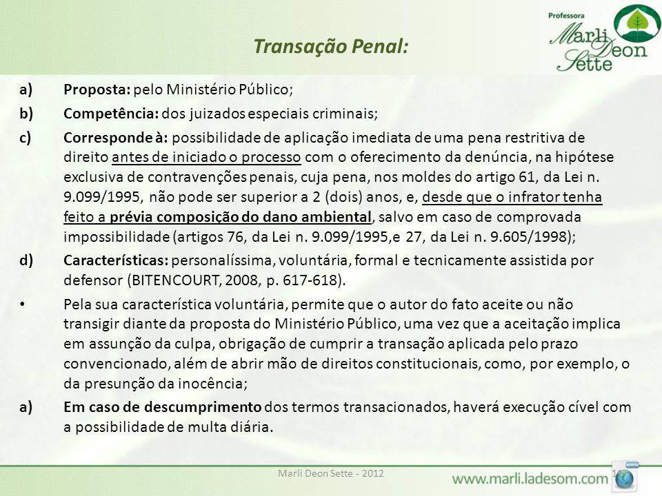 Marli Deon Sette - 201211 Transação Penal: a)Proposta: pelo Ministério Público; b)Competência: dos juizados especiais criminais; c)Corresponde à: poss