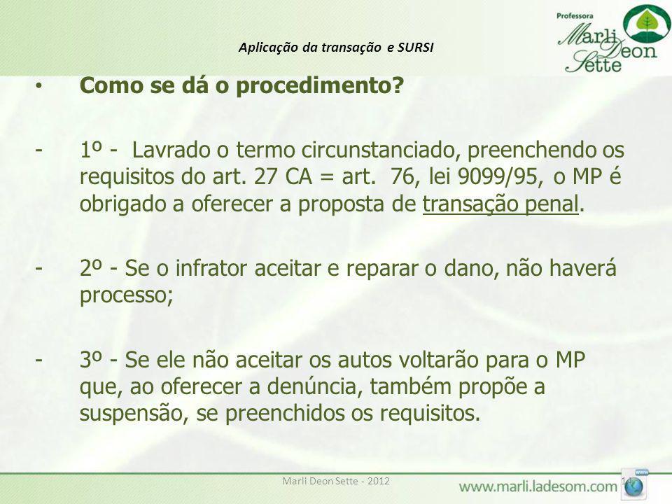 Marli Deon Sette - 201214 Aplicação da transação e SURSI Como se dá o procedimento? -1º - Lavrado o termo circunstanciado, preenchendo os requisitos d
