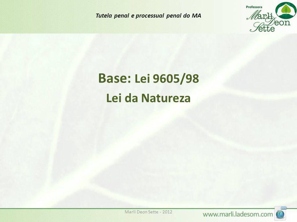 Marli Deon Sette - 20123 Tutela penal e processual penal do MA Base: Lei 9605/98 Lei da Natureza