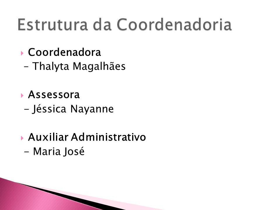 Coordenadora – Thalyta Magalhães Assessora - Jéssica Nayanne Auxiliar Administrativo - Maria José