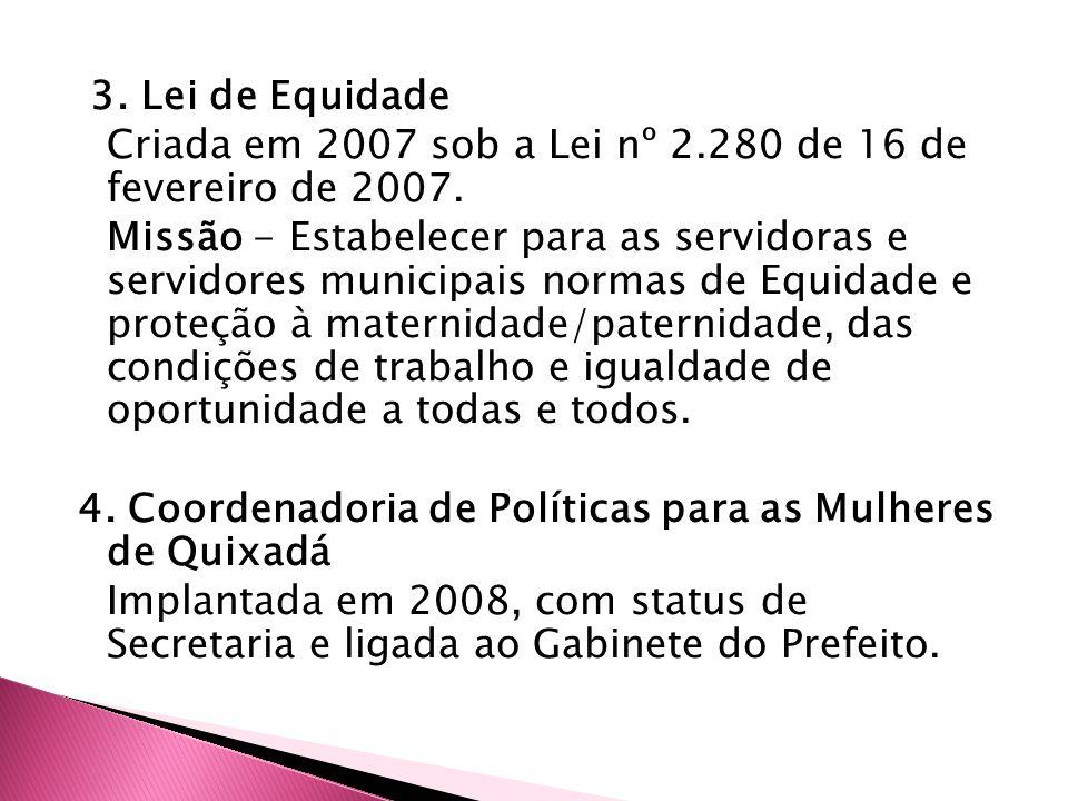 3. Lei de Equidade Criada em 2007 sob a Lei nº 2.280 de 16 de fevereiro de 2007. Missão - Estabelecer para as servidoras e servidores municipais norma