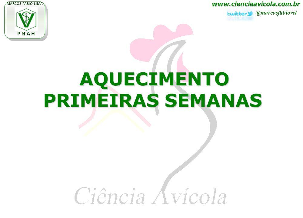 www.cienciaavicola.com.br @marcosfabiovet MARCOS FABIO LIMA P N A H AQUECIMENTO PRIMEIRAS SEMANAS AQUECIMENTO PRIMEIRAS SEMANAS