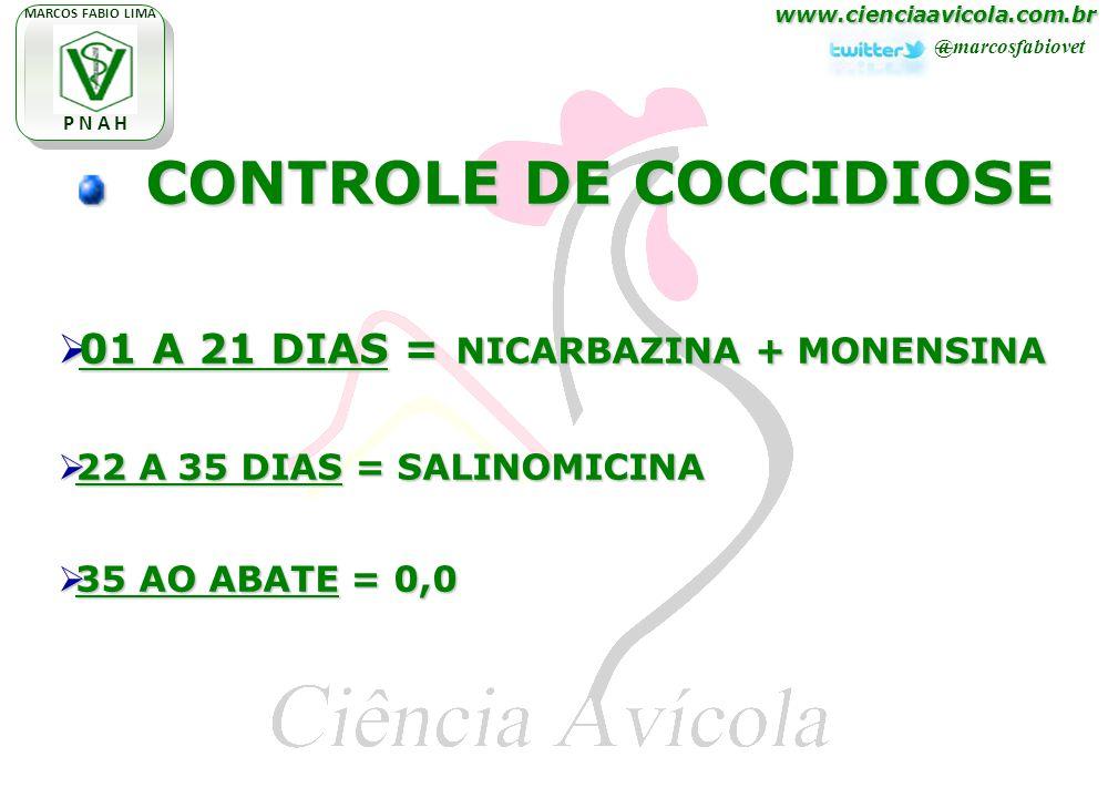www.cienciaavicola.com.br @marcosfabiovet MARCOS FABIO LIMA P N A H CONTROLE DE COCCIDIOSE CONTROLE DE COCCIDIOSE 01 A 21 DIAS = NICARBAZINA + MONENSINA 01 A 21 DIAS = NICARBAZINA + MONENSINA 22 A 35 DIAS = SALINOMICINA 22 A 35 DIAS = SALINOMICINA 35 AO ABATE = 0,0 35 AO ABATE = 0,0
