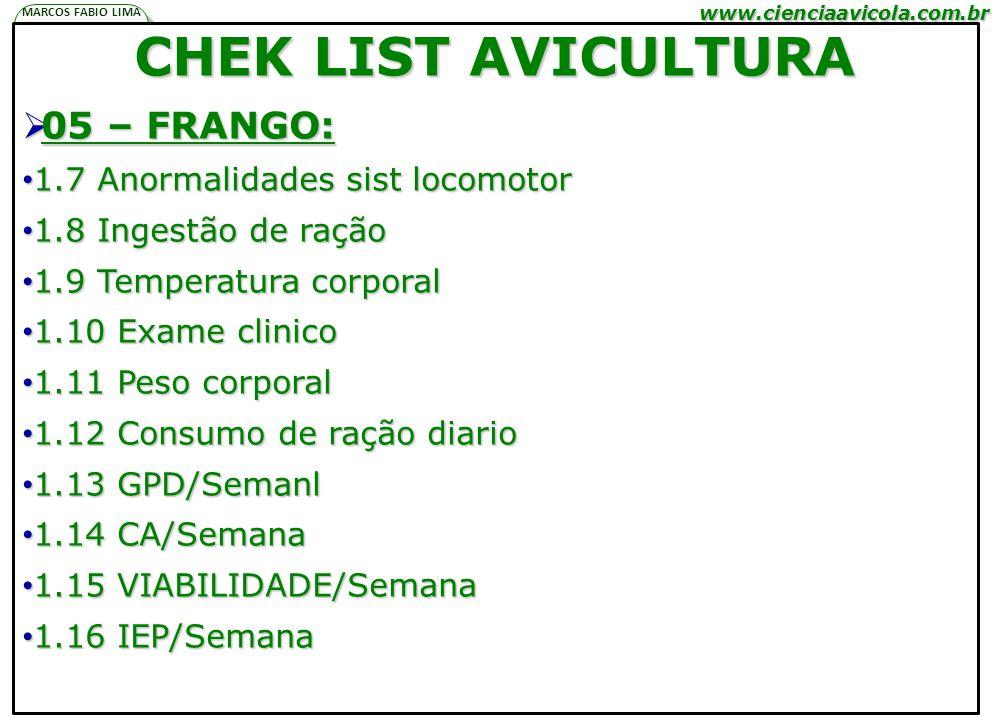 www.cienciaavicola.com.br @marcosfabiovet MARCOS FABIO LIMA P N A H CHEK LIST AVICULTURA 05 – FRANGO: 05 – FRANGO: 1.7 Anormalidades sist locomotor 1.