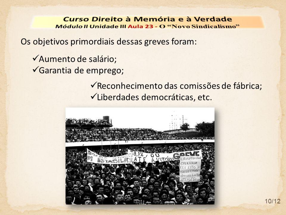 10/12 Os objetivos primordiais dessas greves foram: Reconhecimento das comissões de fábrica; Liberdades democráticas, etc.
