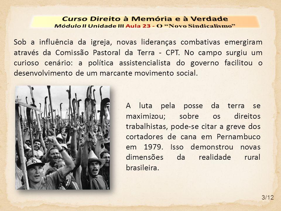 3/12 Sob a influência da igreja, novas lideranças combativas emergiram através da Comissão Pastoral da Terra - CPT.