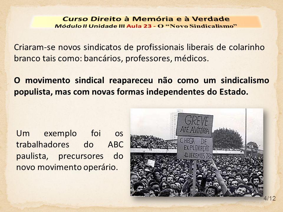 4/12 Criaram-se novos sindicatos de profissionais liberais de colarinho branco tais como: bancários, professores, médicos.