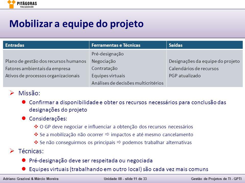 Adriano Graziosi & Márcio MoreiraUnidade 08 - slide 11 de 33Gestão de Projetos de TI - GPTI Mobilizar a equipe do projeto Missão: Confirmar a disponib