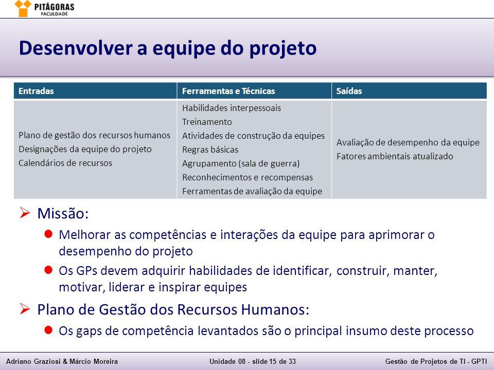Adriano Graziosi & Márcio MoreiraUnidade 08 - slide 15 de 33Gestão de Projetos de TI - GPTI Desenvolver a equipe do projeto Missão: Melhorar as compet