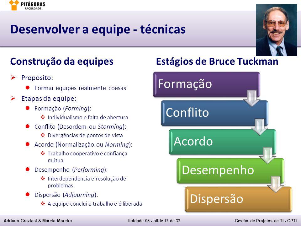Adriano Graziosi & Márcio MoreiraUnidade 08 - slide 17 de 33Gestão de Projetos de TI - GPTI Desenvolver a equipe - técnicas Construção da equipes Prop