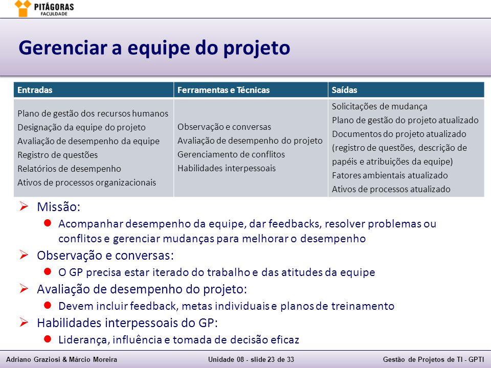 Adriano Graziosi & Márcio MoreiraUnidade 08 - slide 23 de 33Gestão de Projetos de TI - GPTI Gerenciar a equipe do projeto Missão: Acompanhar desempenh
