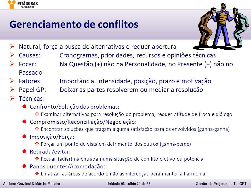 Adriano Graziosi & Márcio MoreiraUnidade 08 - slide 24 de 33Gestão de Projetos de TI - GPTI Gerenciamento de conflitos Natural, força a busca de alter