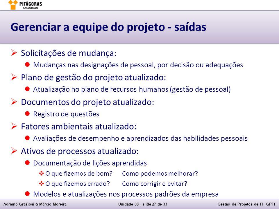 Adriano Graziosi & Márcio MoreiraUnidade 08 - slide 27 de 33Gestão de Projetos de TI - GPTI Gerenciar a equipe do projeto - saídas Solicitações de mud