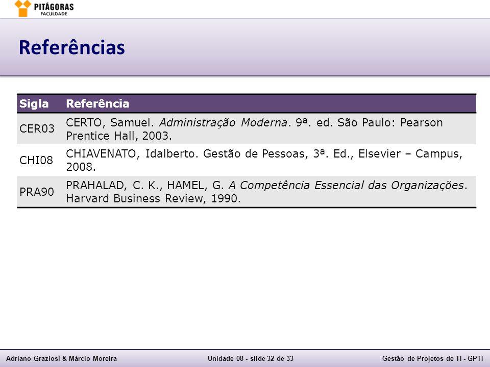 Adriano Graziosi & Márcio MoreiraUnidade 08 - slide 32 de 33Gestão de Projetos de TI - GPTI Referências SiglaReferência CER03 CERTO, Samuel. Administr