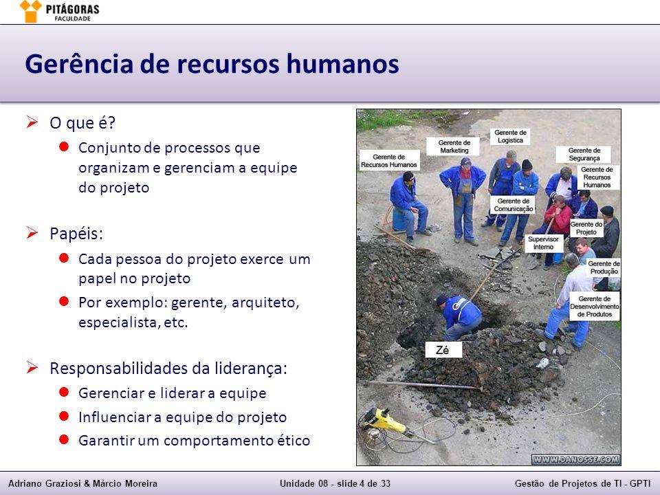 Adriano Graziosi & Márcio MoreiraUnidade 08 - slide 4 de 33Gestão de Projetos de TI - GPTI Gerência de recursos humanos O que é? Conjunto de processos