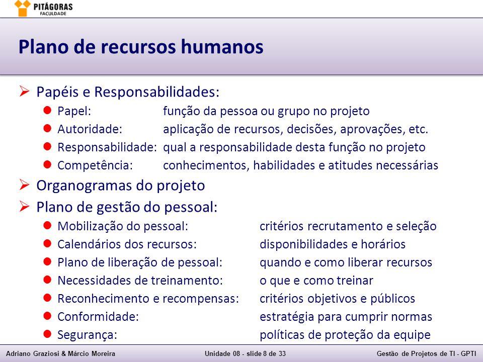 Adriano Graziosi & Márcio MoreiraUnidade 08 - slide 8 de 33Gestão de Projetos de TI - GPTI Plano de recursos humanos Papéis e Responsabilidades: Papel