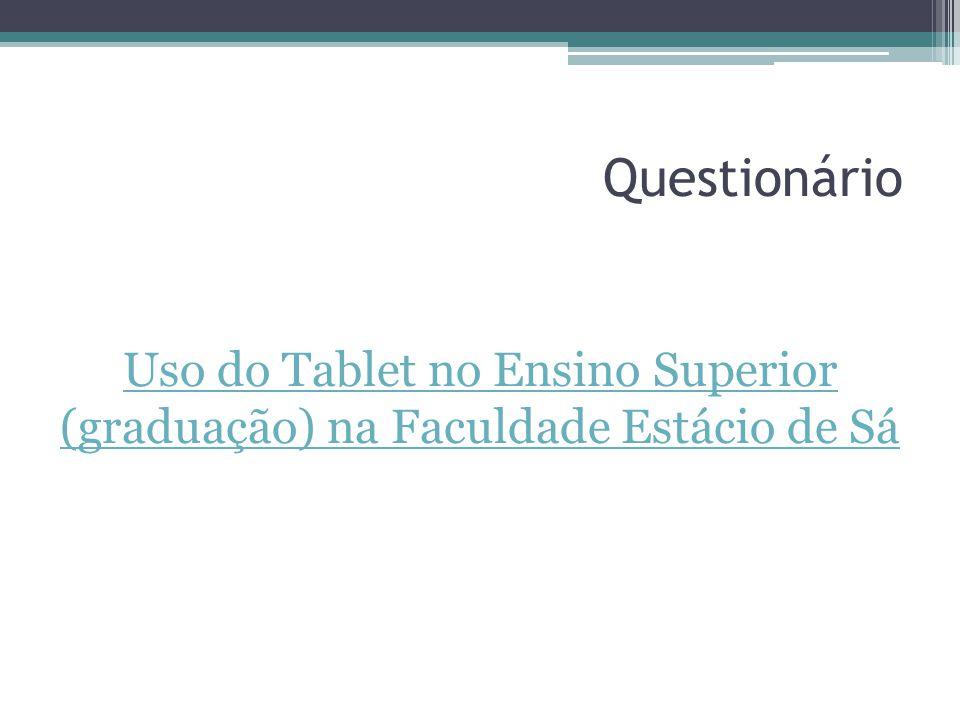 Instrumentos de Coleta de Dados Para a coleta de dados foram aplicados questionários online e impresso aos alunos de graduação dos cursos de Direito e Gastronomia da Faculdade Estácio de Sá.