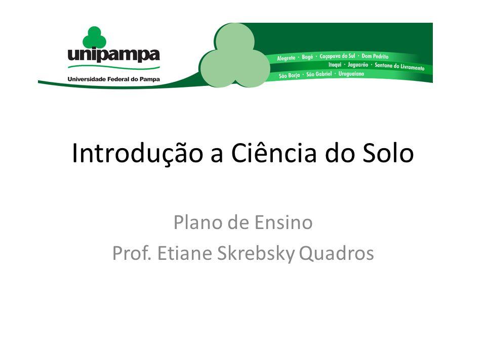 Introdução a Ciência do Solo Plano de Ensino Prof. Etiane Skrebsky Quadros