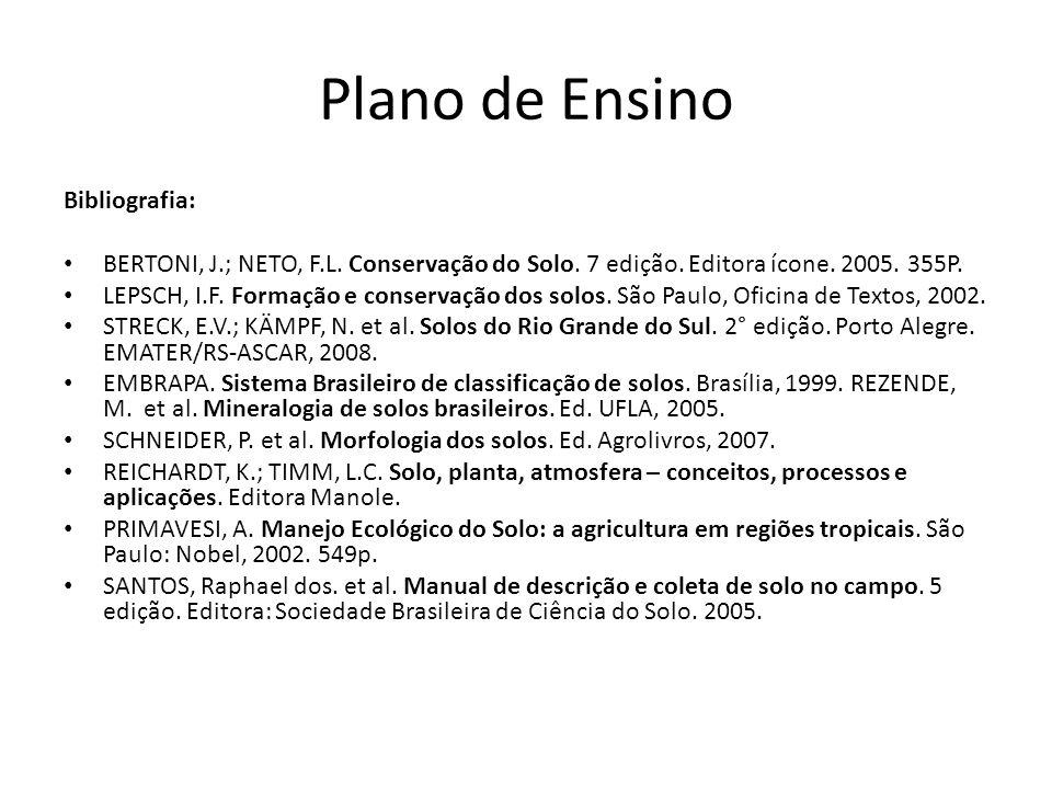 Plano de Ensino Bibliografia: BERTONI, J.; NETO, F.L. Conservação do Solo. 7 edição. Editora ícone. 2005. 355P. LEPSCH, I.F. Formação e conservação do