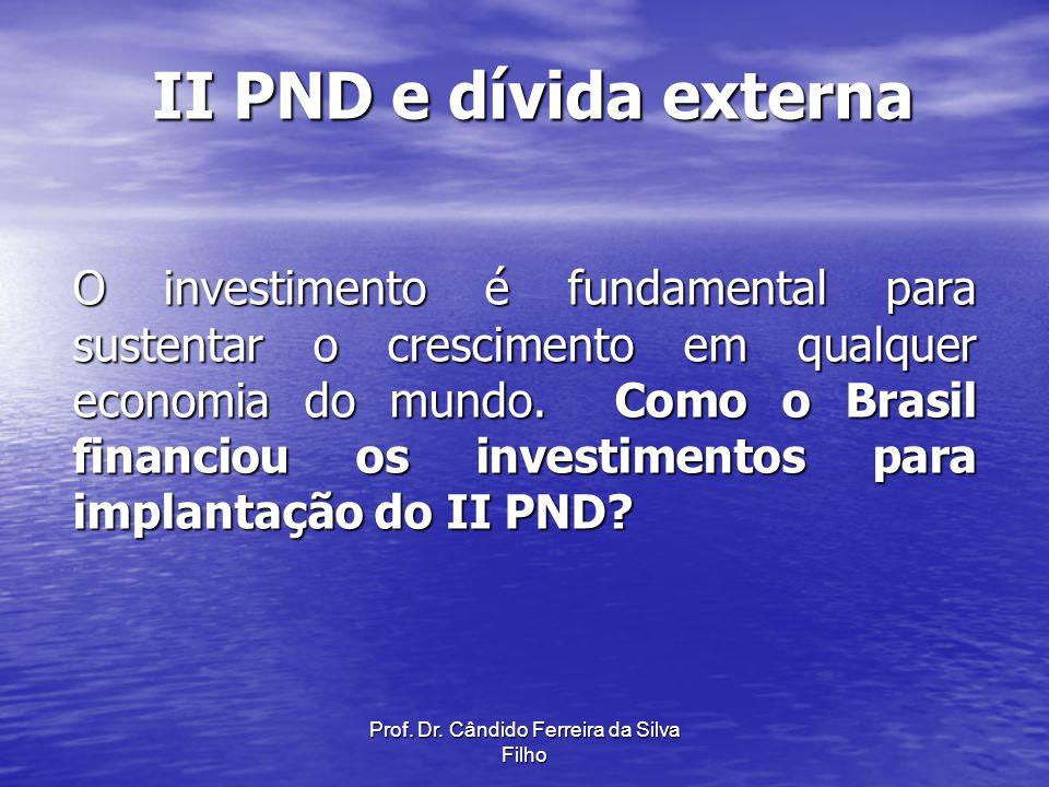 Prof. Dr. Cândido Ferreira da Silva Filho II PND e dívida externa O investimento é fundamental para sustentar o crescimento em qualquer economia do mu
