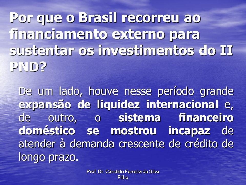 Prof. Dr. Cândido Ferreira da Silva Filho Por que o Brasil recorreu ao financiamento externo para sustentar os investimentos do II PND? De um lado, ho