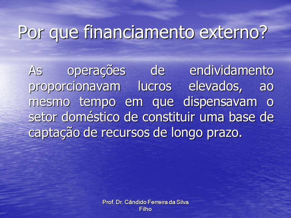 Prof. Dr. Cândido Ferreira da Silva Filho Por que financiamento externo? As operações de endividamento proporcionavam lucros elevados, ao mesmo tempo
