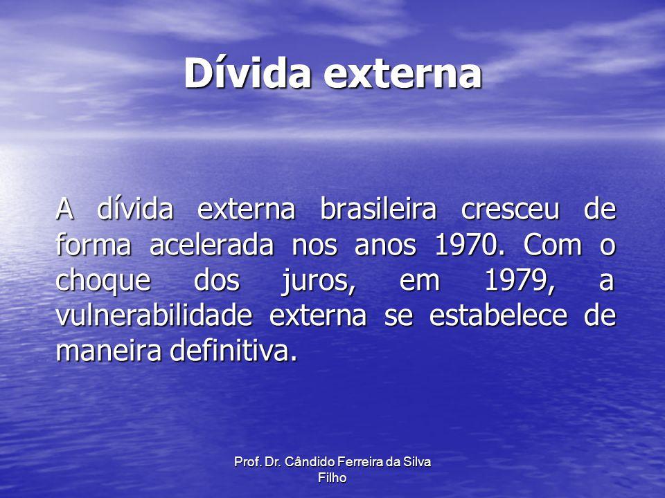 Prof. Dr. Cândido Ferreira da Silva Filho Dívida externa A dívida externa brasileira cresceu de forma acelerada nos anos 1970. Com o choque dos juros,