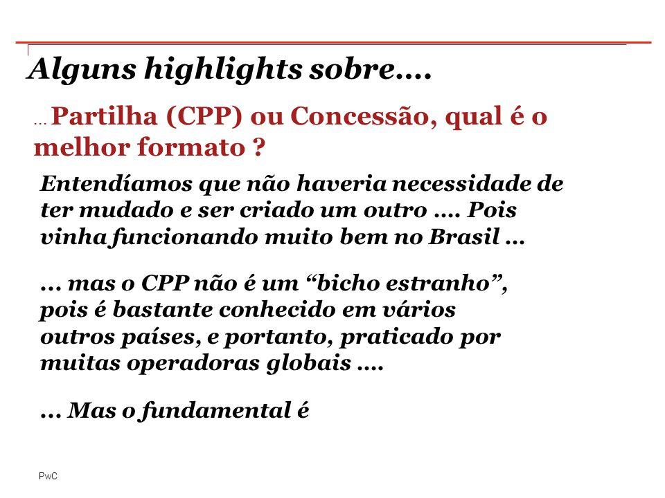 PwC Alguns highlights sobre….... Partilha (CPP) ou Concessão, qual é o melhor formato .