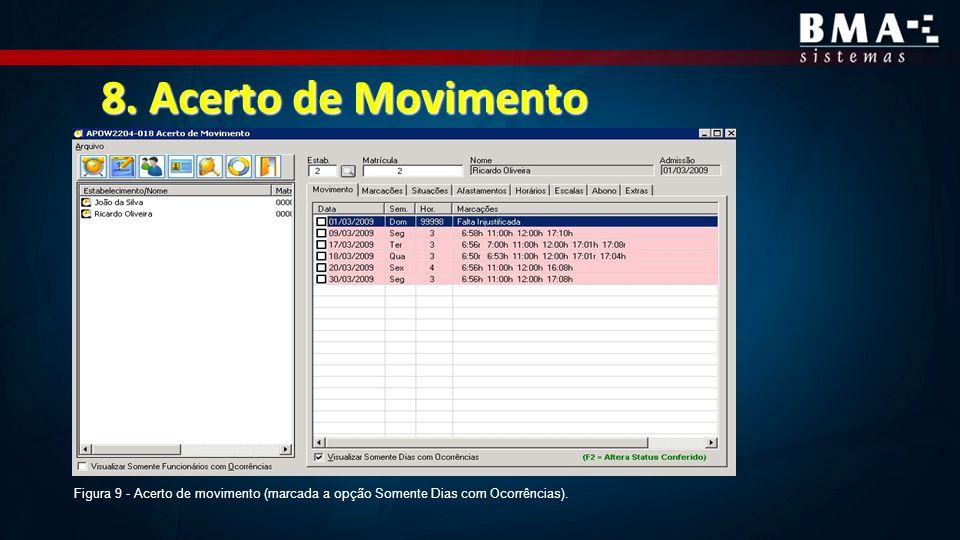 8. Acerto de Movimento Figura 9 - Acerto de movimento (marcada a opção Somente Dias com Ocorrências).
