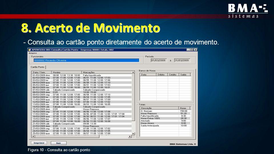 8. Acerto de Movimento - Consulta ao cartão ponto diretamente do acerto de movimento. Figura 10 - Consulta ao cartão ponto