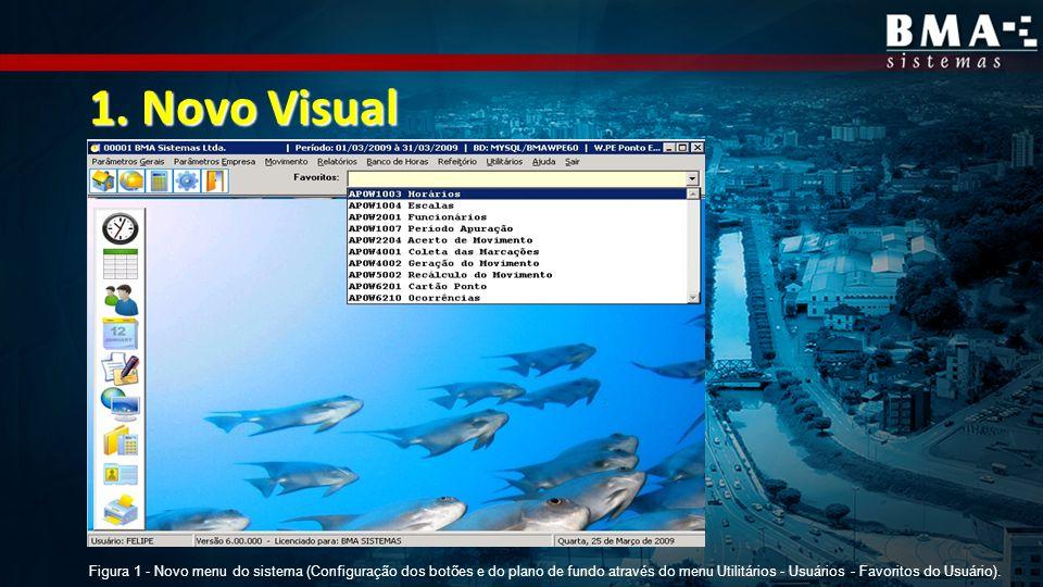 Figura 1 - Novo menu do sistema (Configuração dos botões e do plano de fundo através do menu Utilitários - Usuários - Favoritos do Usuário).