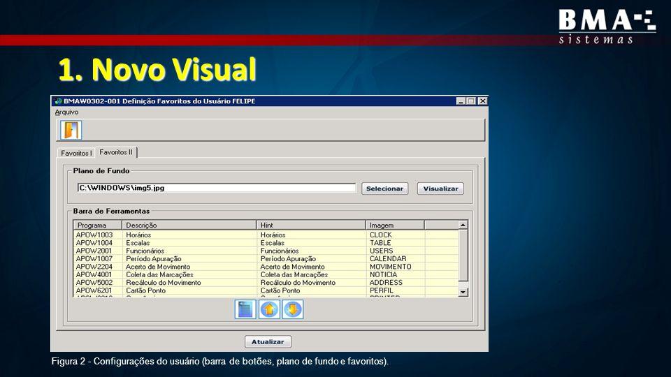 1. Novo Visual Figura 2 - Configurações do usuário (barra de botões, plano de fundo e favoritos).
