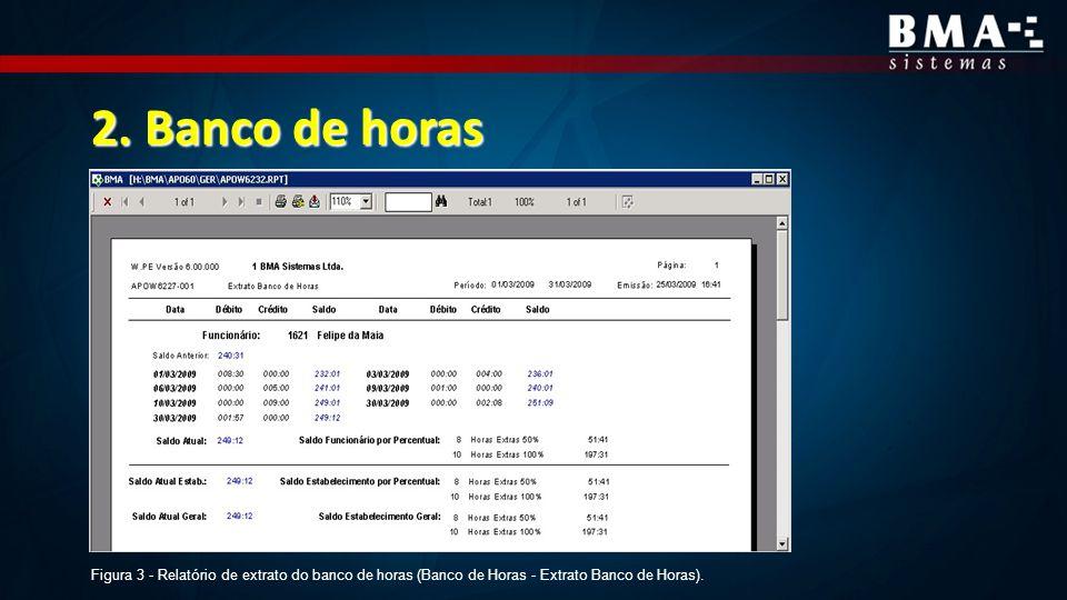 2. Banco de horas Figura 3 - Relatório de extrato do banco de horas (Banco de Horas - Extrato Banco de Horas).