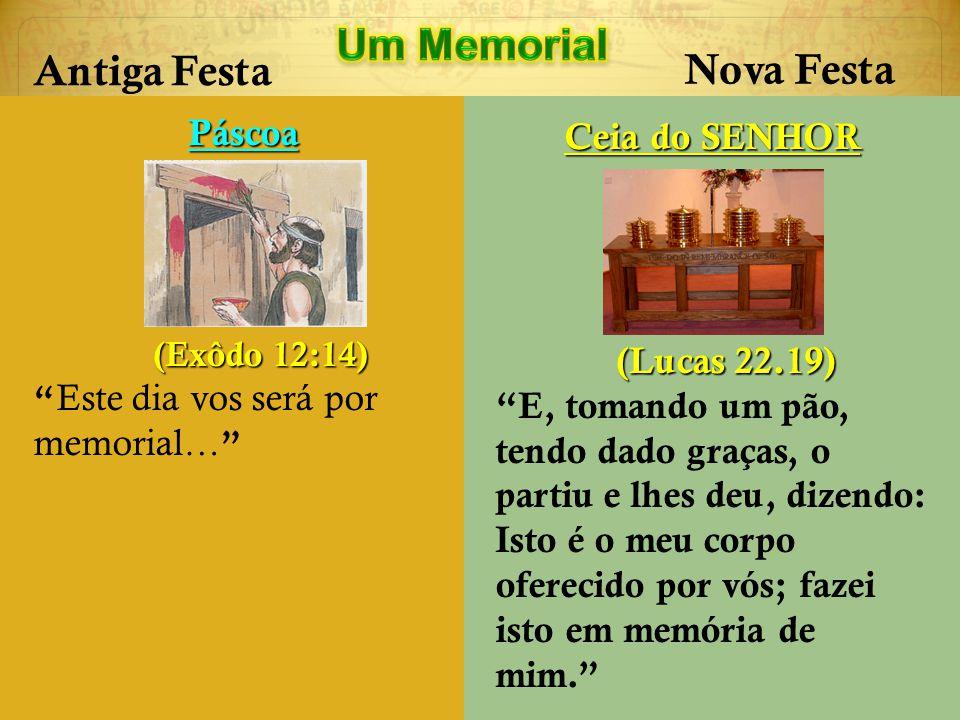 Antiga Festa Nova Festa Páscoa (Exôdo 12:14) (Exôdo 12:14) Este dia vos será por memorial… Ceia do SENHOR (Lucas 22.19) (Lucas 22.19) E, tomando um pã