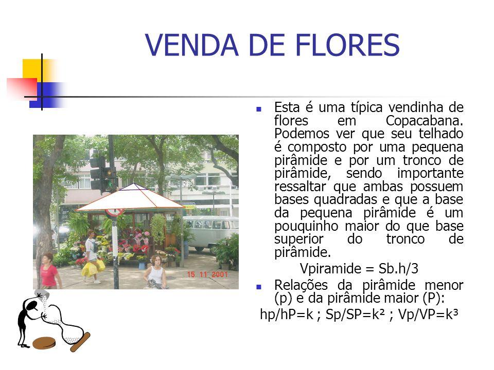 VENDA DE FLORES Esta é uma típica vendinha de flores em Copacabana. Podemos ver que seu telhado é composto por uma pequena pirâmide e por um tronco de
