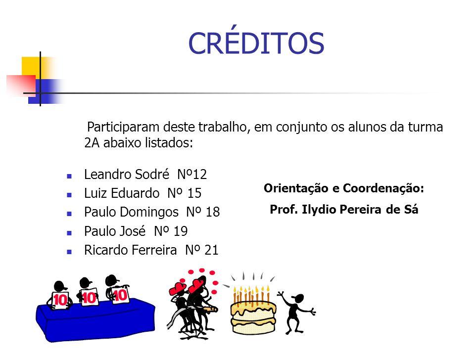 CRÉDITOS Leandro Sodré Nº12 Luiz Eduardo Nº 15 Paulo Domingos Nº 18 Paulo José Nº 19 Ricardo Ferreira Nº 21 Participaram deste trabalho, em conjunto o