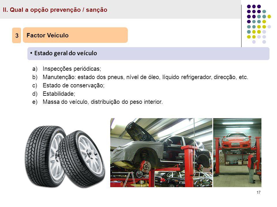 17 II. Qual a opção prevenção / sanção Factor Veículo Estado geral do veículo 3 a)Inspecções periódicas; b)Manutenção: estado dos pneus, nível de óleo