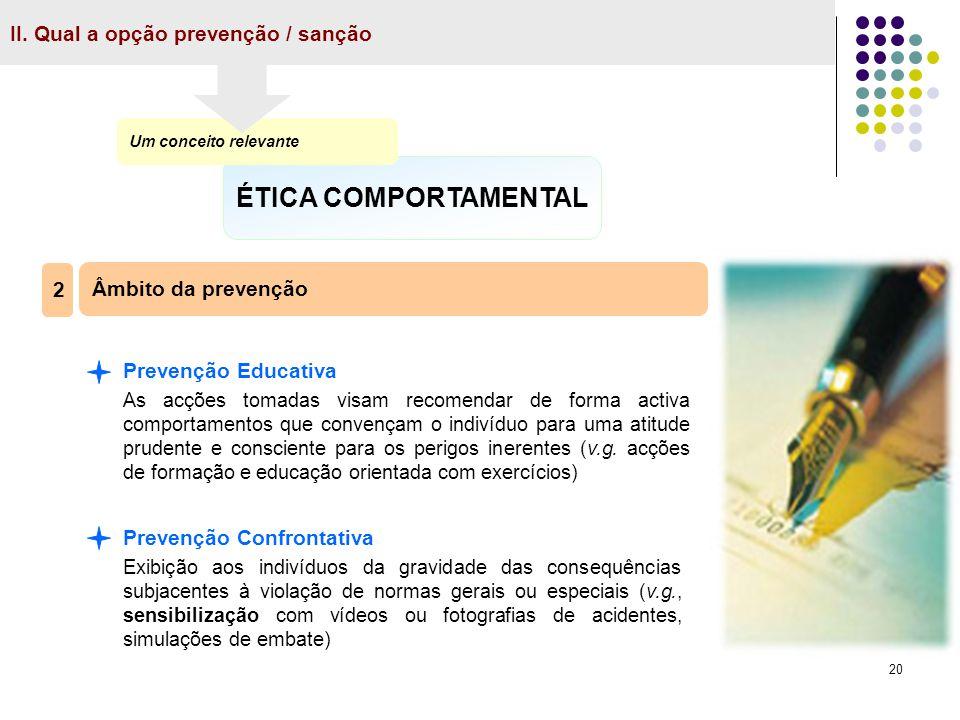 20 II. Qual a opção prevenção / sanção ÉTICA COMPORTAMENTAL Um conceito relevante Âmbito da prevenção 2 Prevenção Educativa As acções tomadas visam re