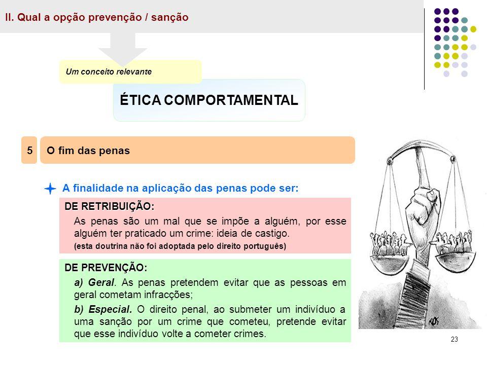 23 II. Qual a opção prevenção / sanção ÉTICA COMPORTAMENTAL Um conceito relevante O fim das penas 5 A finalidade na aplicação das penas pode ser: DE R
