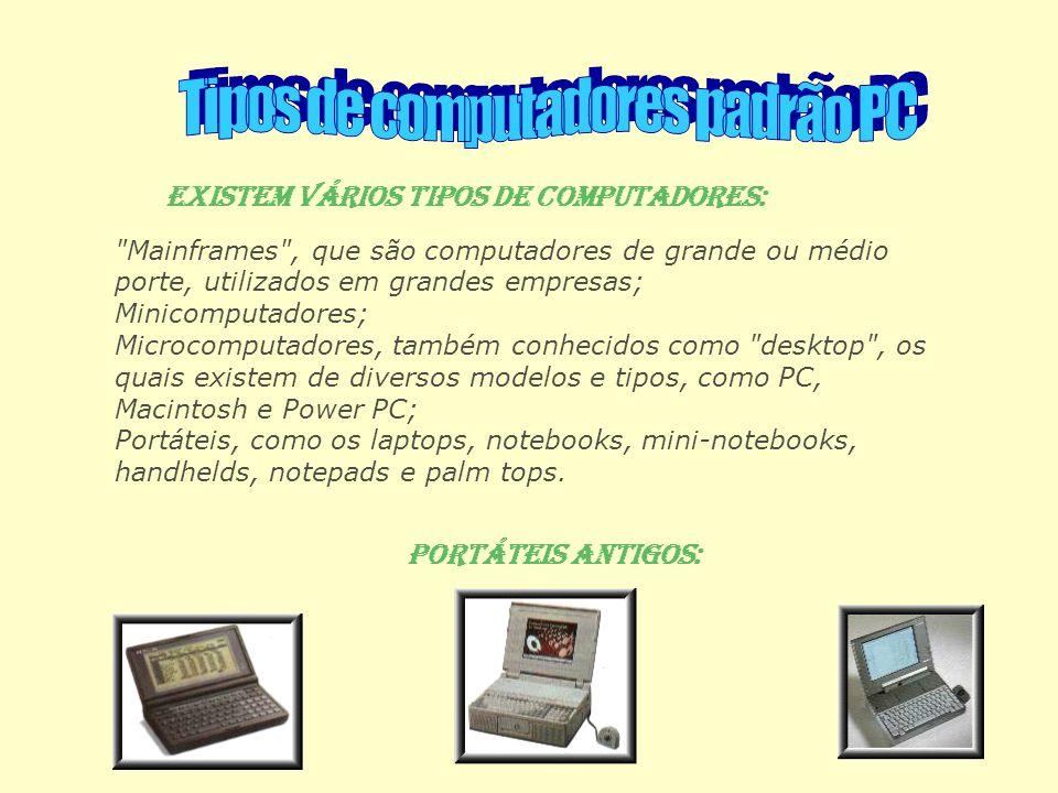 Mainframes , que são computadores de grande ou médio porte, utilizados em grandes empresas; Minicomputadores; Microcomputadores, também conhecidos como desktop , os quais existem de diversos modelos e tipos, como PC, Macintosh e Power PC; Portáteis, como os laptops, notebooks, mini-notebooks, handhelds, notepads e palm tops.