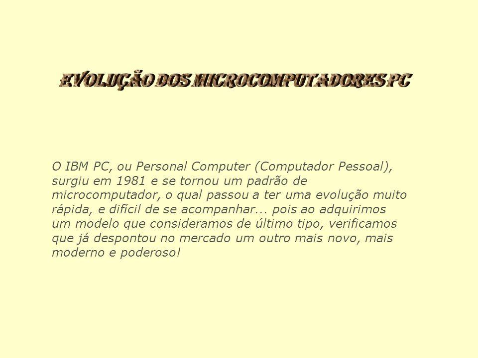 O IBM PC, ou Personal Computer (Computador Pessoal), surgiu em 1981 e se tornou um padrão de microcomputador, o qual passou a ter uma evolução muito r