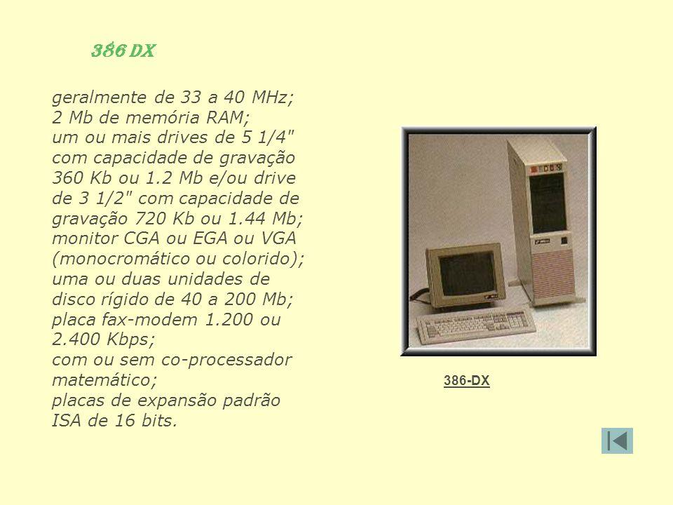 386 DX geralmente de 33 a 40 MHz; 2 Mb de memória RAM; um ou mais drives de 5 1/4